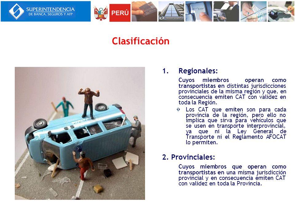 Clasificación 1.Regionales: Cuyos miembros operan como transportistas en distintas jurisdicciones provinciales de la misma región y que, en consecuenc