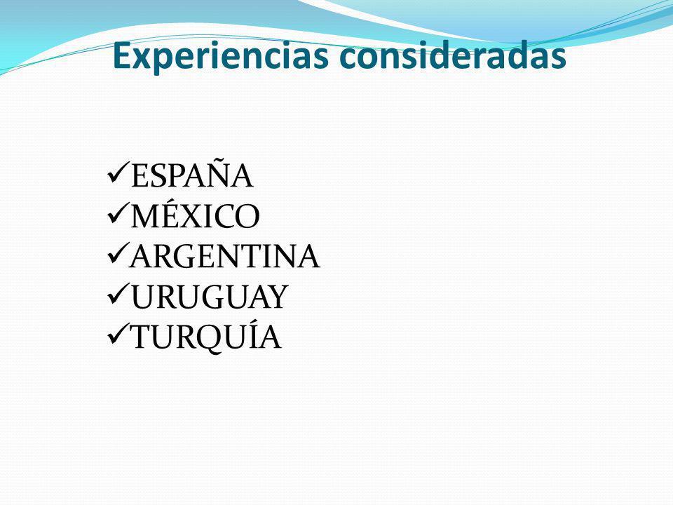 Experiencias consideradas ESPAÑA MÉXICO ARGENTINA URUGUAY TURQUÍA