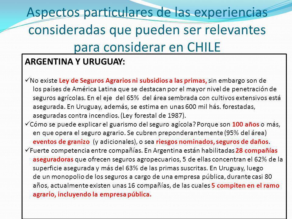 Aspectos particulares de las experiencias consideradas que pueden ser relevantes para considerar en CHILE ARGENTINA Y URUGUAY: No existe Ley de Seguros Agrarios ni subsidios a las primas, sin embargo son de los países de América Latina que se destacan por el mayor nivel de penetración de seguros agrícolas.