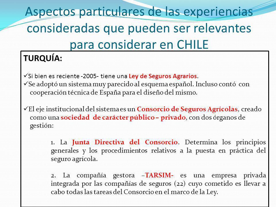 Aspectos particulares de las experiencias consideradas que pueden ser relevantes para considerar en CHILE TURQUÍA (2): Mecanismos de transferencia de riesgos Las compañías de seguros cobran la totalidad de las primas y el riesgo total es transferido al Consorcio.