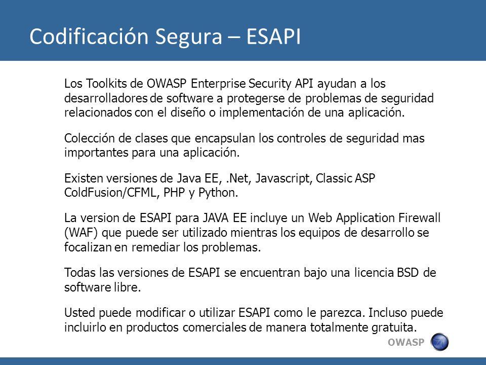 OWASP Los Toolkits de OWASP Enterprise Security API ayudan a los desarrolladores de software a protegerse de problemas de seguridad relacionados con e