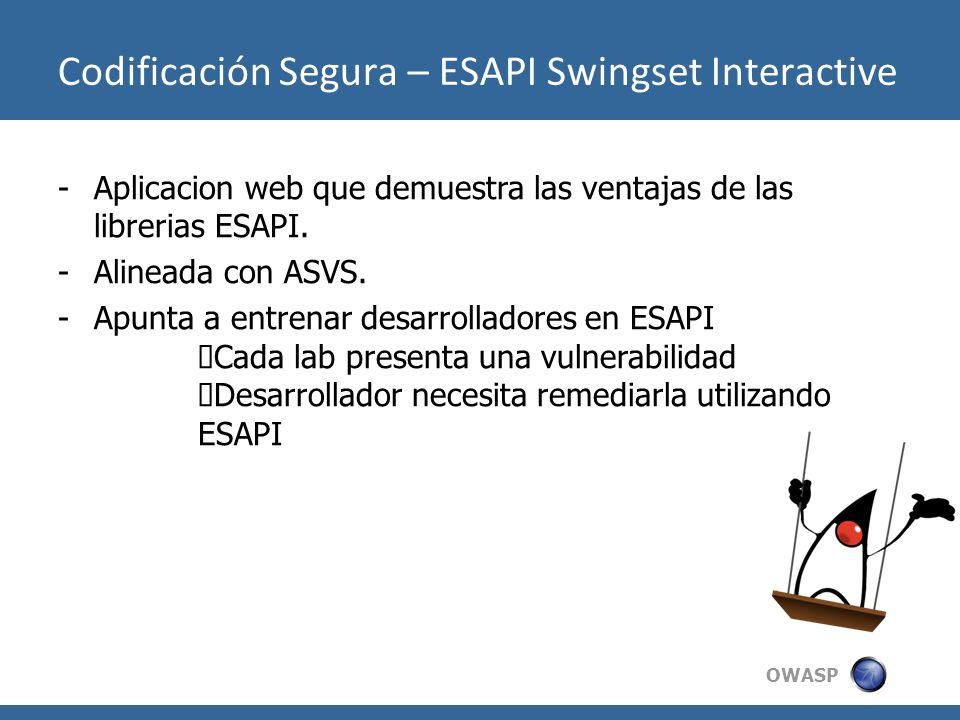 OWASP -Aplicacion web que demuestra las ventajas de las librerias ESAPI. -Alineada con ASVS. -Apunta a entrenar desarrolladores en ESAPI Cada lab pres