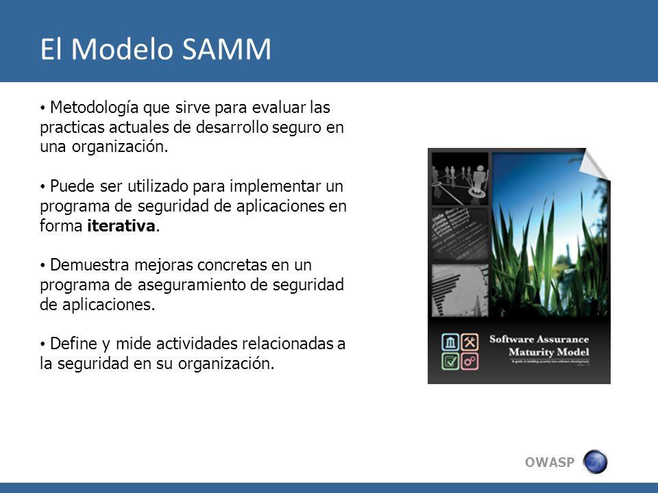 OWASP El Modelo SAMM Metodología que sirve para evaluar las practicas actuales de desarrollo seguro en una organización. Puede ser utilizado para impl