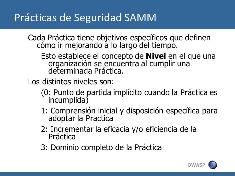 OWASP Prácticas de Seguridad SAMM Cada Práctica tiene objetivos específicos que definen cómo ir mejorando a lo largo del tiempo. Esto establece el con