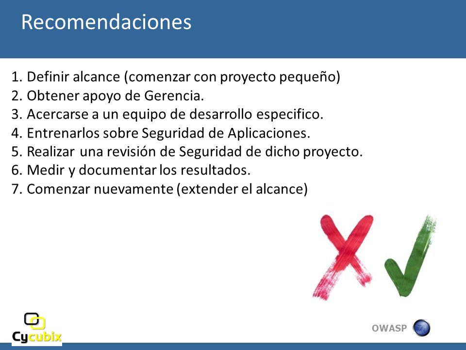 OWASP Recomendaciones 1.Definir alcance (comenzar con proyecto pequeño) 2.Obtener apoyo de Gerencia. 3.Acercarse a un equipo de desarrollo especifico.