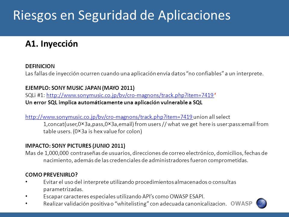 OWASP A1. Inyección DEFINICION Las fallas de inyección ocurren cuando una aplicación envía datos no confiables a un interprete. EJEMPLO: SONY MUSIC JA