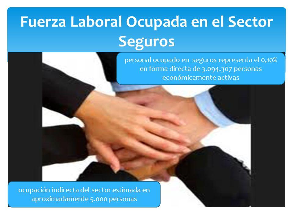 Fuerza Laboral Ocupada en el Sector Seguros personal ocupado en seguros representa el 0,10% en forma directa de 3.094.307 personas económicamente activas ocupación indirecta del sector estimada en aproximadamente 5.000 personas