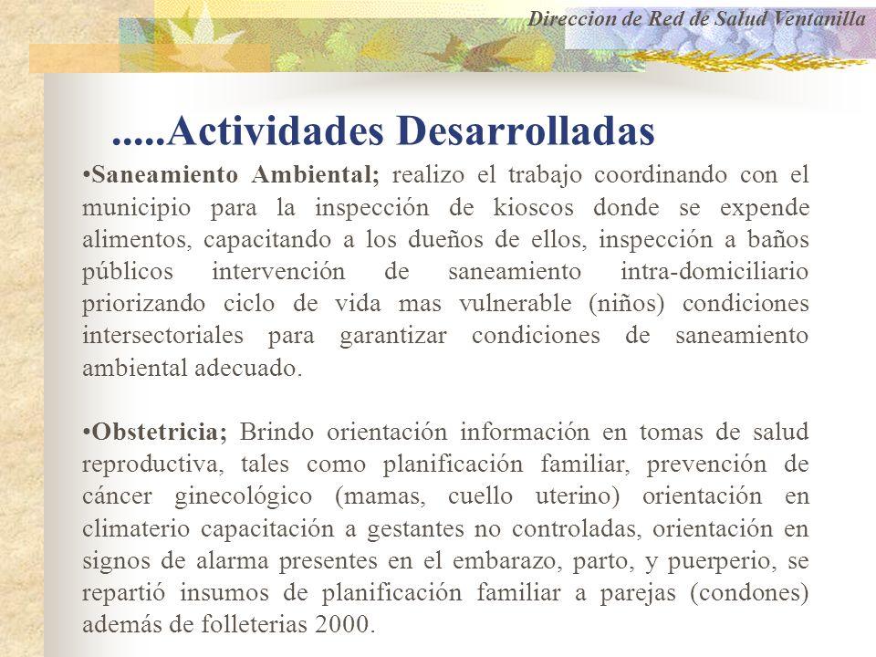 .....Actividades Desarrolladas Saneamiento Ambiental; realizo el trabajo coordinando con el municipio para la inspección de kioscos donde se expende a