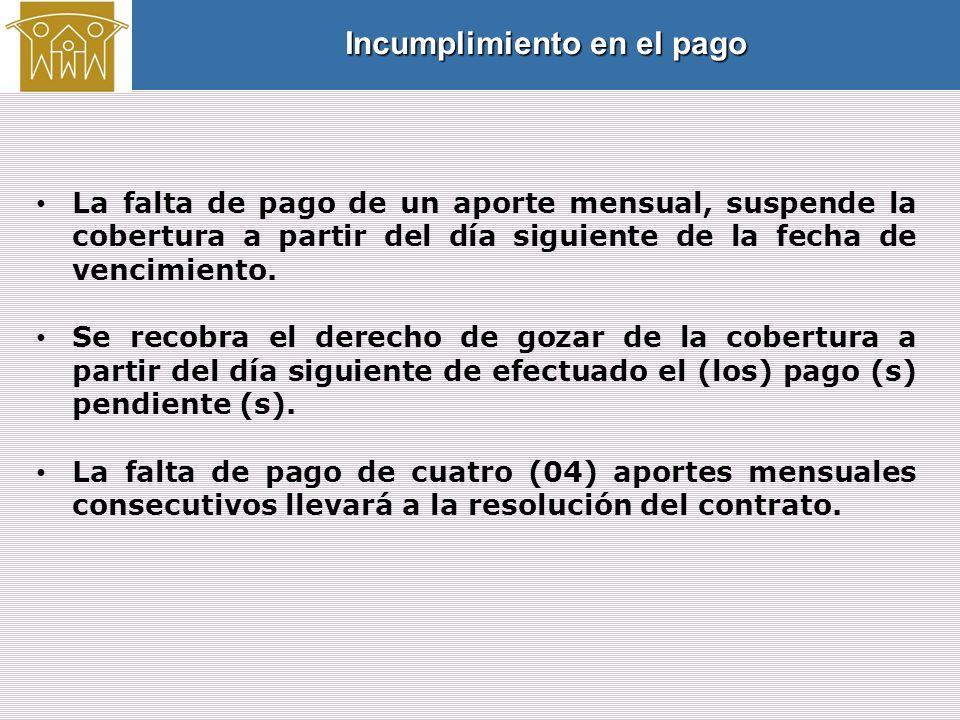La falta de pago de un aporte mensual, suspende la cobertura a partir del día siguiente de la fecha de vencimiento.
