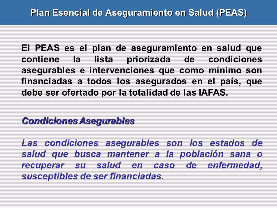 El PEAS es el plan de aseguramiento en salud que contiene la lista priorizada de condiciones asegurables e intervenciones que como mínimo son financiadas a todos los asegurados en el país, que debe ser ofertado por la totalidad de las IAFAS.