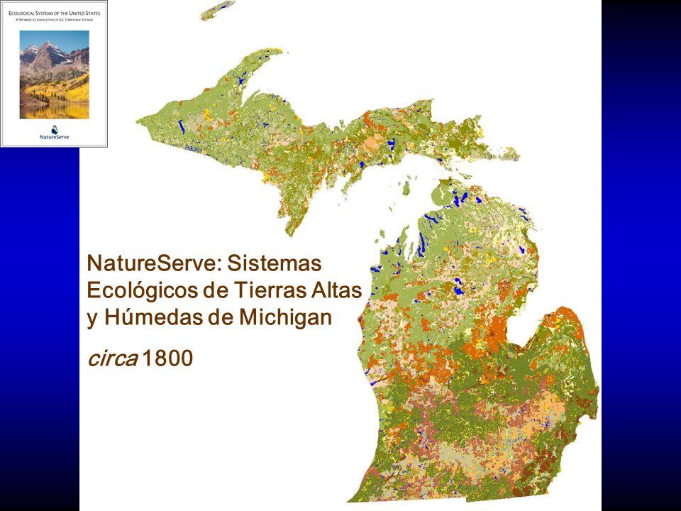 NatureServe: Sistemas Ecológicos de Tierras Altas y Húmedas de Michigan circa 1800