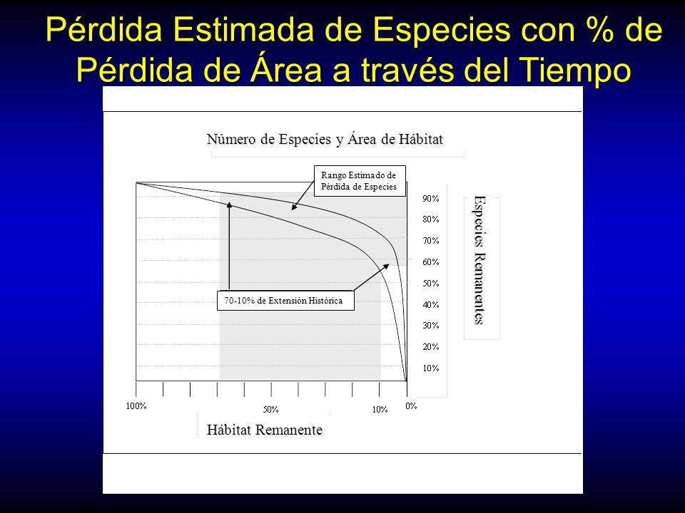 Pérdida Estimada de Especies con % de Pérdida de Área a través del Tiempo (modified from Dobson 1996) Número de Especies y Área de Hábitat Especies Re