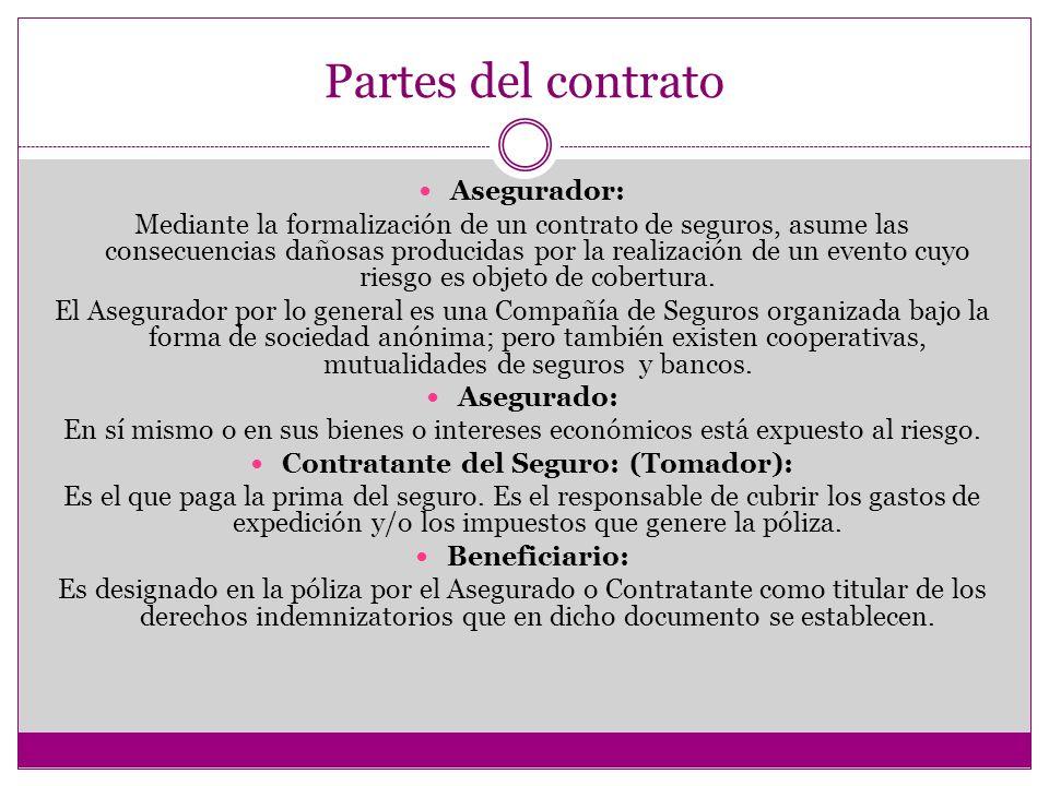 Partes del contrato Asegurador: Mediante la formalización de un contrato de seguros, asume las consecuencias dañosas producidas por la realización de un evento cuyo riesgo es objeto de cobertura.