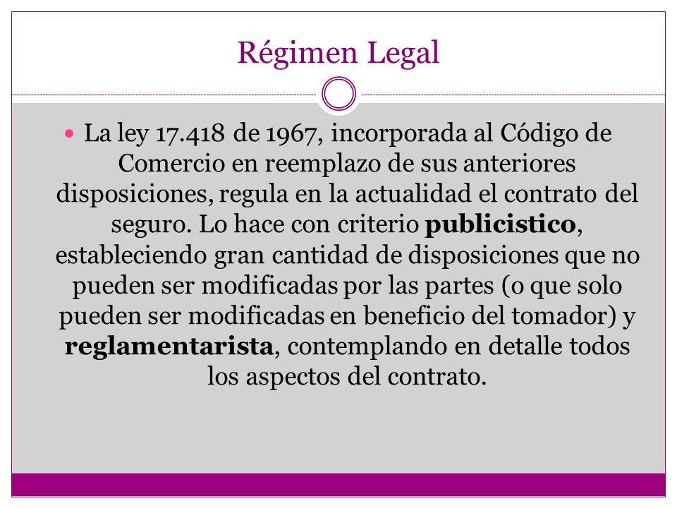 Régimen Legal La ley 17.418 de 1967, incorporada al Código de Comercio en reemplazo de sus anteriores disposiciones, regula en la actualidad el contrato del seguro.