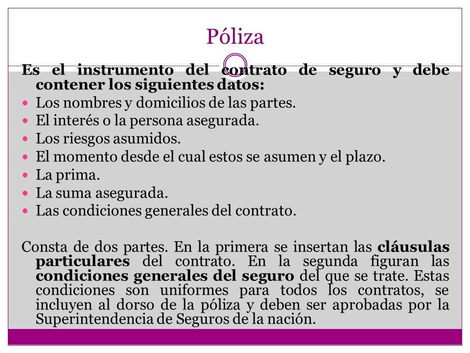 Póliza Es el instrumento del contrato de seguro y debe contener los siguientes datos: Los nombres y domicilios de las partes.