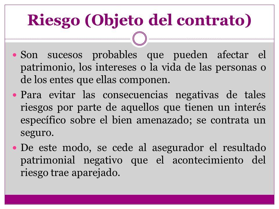 Riesgo (Objeto del contrato) Son sucesos probables que pueden afectar el patrimonio, los intereses o la vida de las personas o de los entes que ellas componen.