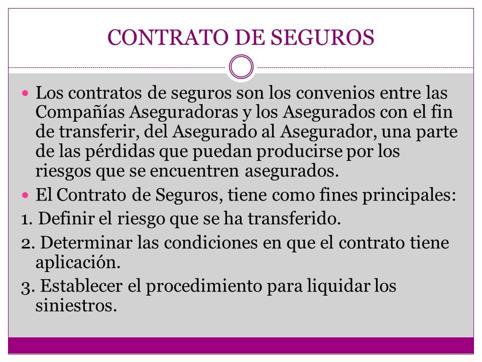 Los contratos de seguros son los convenios entre las Compañías Aseguradoras y los Asegurados con el fin de transferir, del Asegurado al Asegurador, una parte de las pérdidas que puedan producirse por los riesgos que se encuentren asegurados.