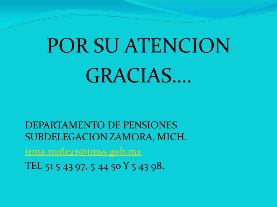 POR SU ATENCION GRACIAS…. DEPARTAMENTO DE PENSIONES SUBDELEGACION ZAMORA, MICH. irma.nuñezr@imss.gob.mx TEL 51 5 43 97, 5 44 50 Y 5 43 98.