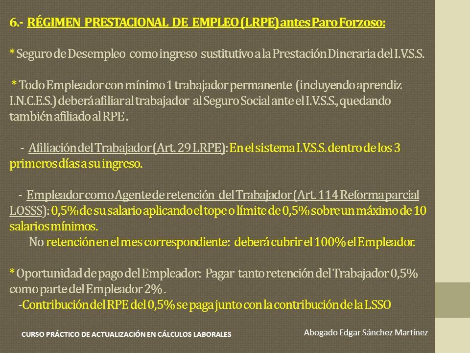6.- RÉGIMEN PRESTACIONAL DE EMPLEO (LRPE) antes Paro Forzoso: * Seguro de Desempleo como ingreso sustitutivo a la Prestación Dineraria del I.V.S.S. *