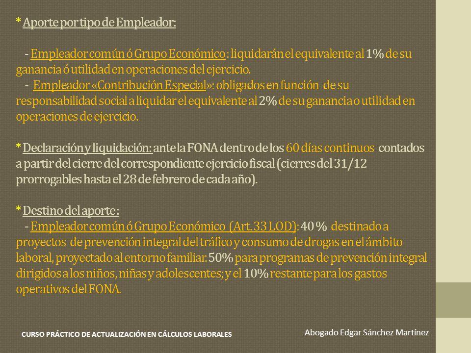 * Aporte por tipo de Empleador: - Empleador común ó Grupo Económico : liquidarán el equivalente al 1% de su ganancia ó utilidad en operaciones del eje