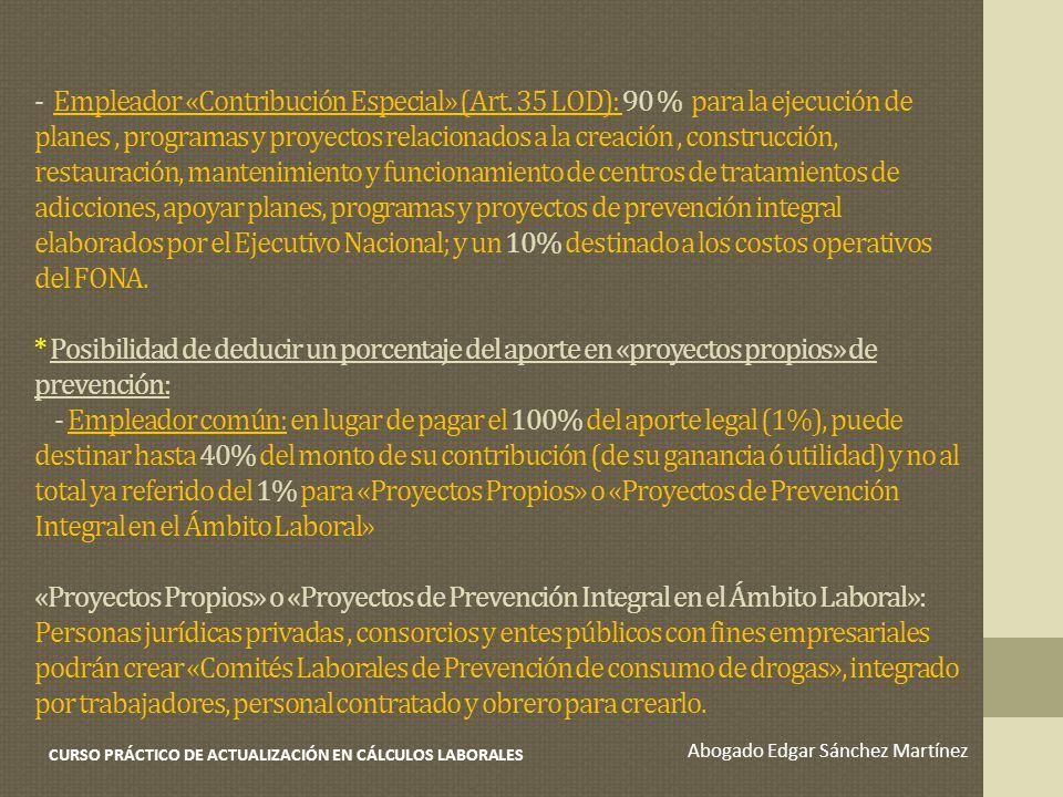 - Empleador «Contribución Especial» (Art. 35 LOD): 90 % para la ejecución de planes, programas y proyectos relacionados a la creación, construcción, r