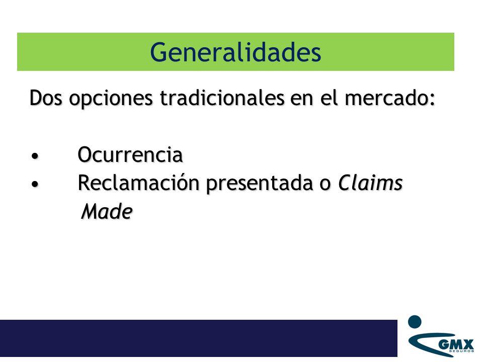Dos opciones tradicionales en el mercado: OcurrenciaOcurrencia Reclamación presentada o Claims Reclamación presentada o Claims Made Made Generalidades