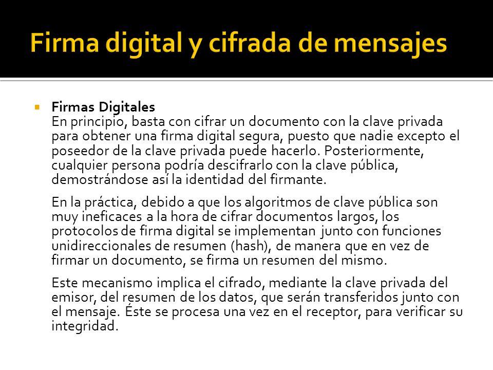 Firmas Digitales En principio, basta con cifrar un documento con la clave privada para obtener una firma digital segura, puesto que nadie excepto el p