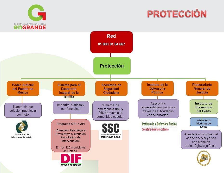 Red 01 800 01 64 667 Poder Judicial del Estado de México Sistema para el Desarrollo Integral de la familia Secretaría de Seguridad Ciudadana Instituto