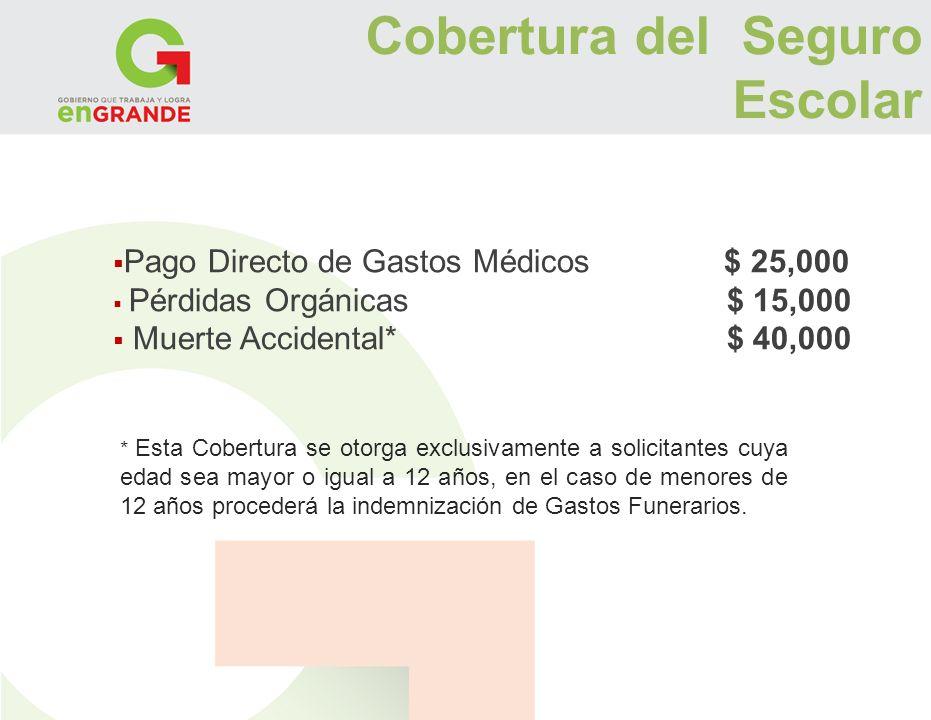 Pago Directo de Gastos Médicos $ 25,000 Pérdidas Orgánicas $ 15,000 Muerte Accidental* $ 40,000 * Esta Cobertura se otorga exclusivamente a solicitant