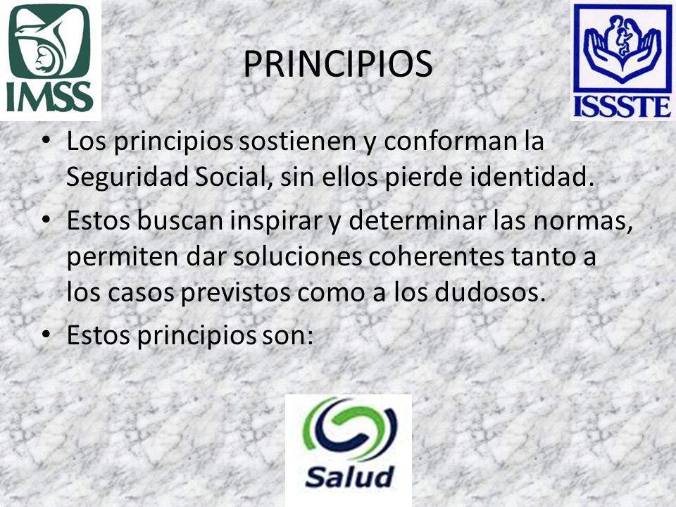 PRINCIPIOS Los principios sostienen y conforman la Seguridad Social, sin ellos pierde identidad.