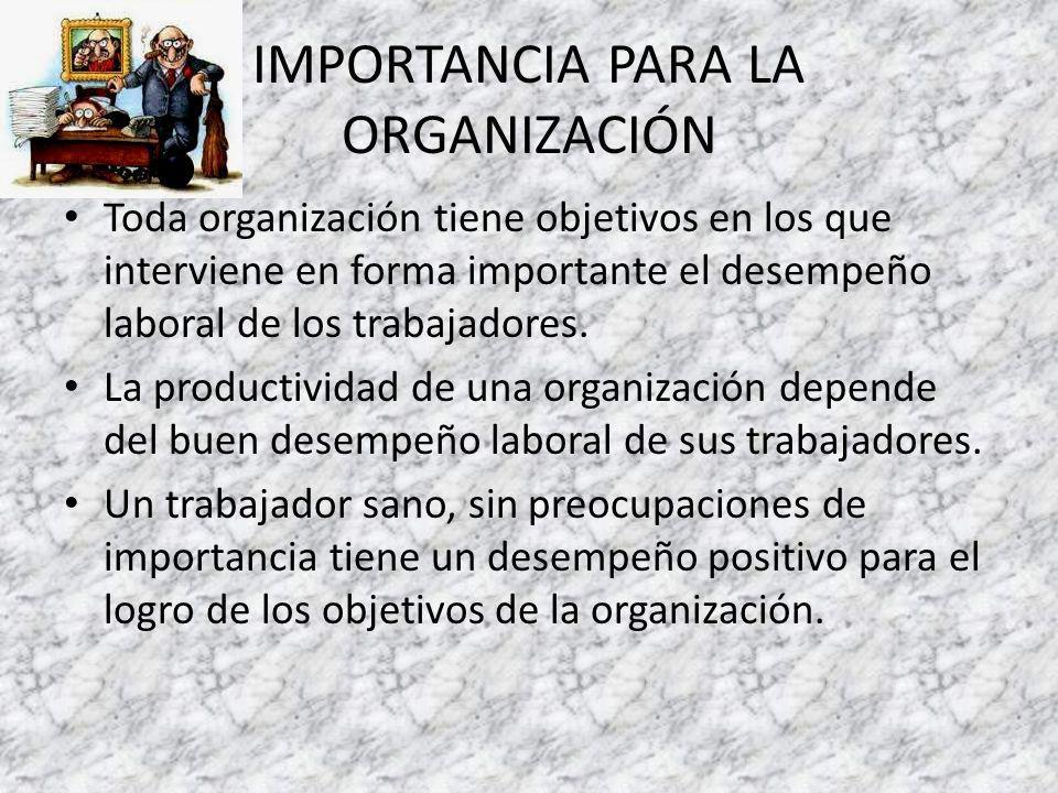 IMPORTANCIA PARA LA ORGANIZACIÓN Toda organización tiene objetivos en los que interviene en forma importante el desempeño laboral de los trabajadores.