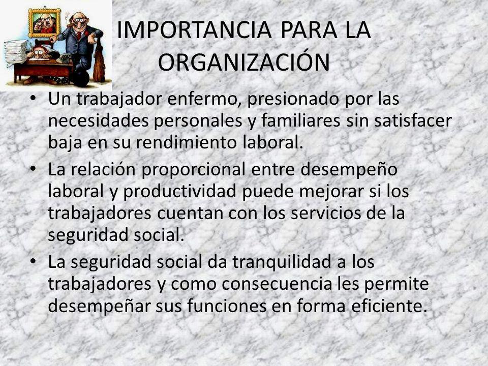 IMPORTANCIA PARA LA ORGANIZACIÓN Un trabajador enfermo, presionado por las necesidades personales y familiares sin satisfacer baja en su rendimiento laboral.
