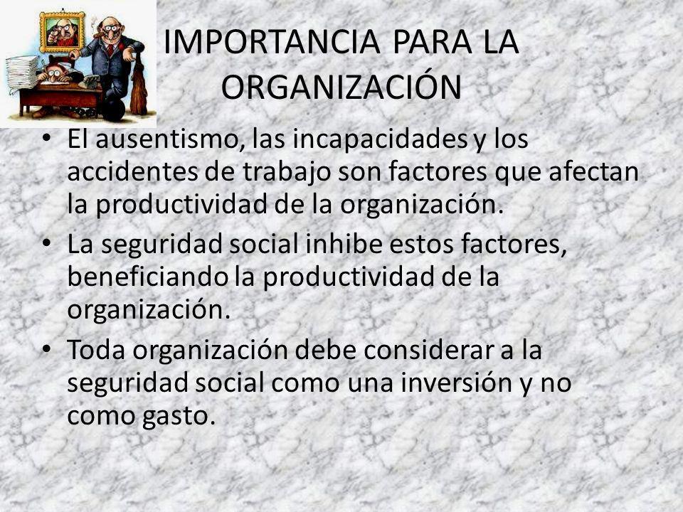IMPORTANCIA PARA LA ORGANIZACIÓN El ausentismo, las incapacidades y los accidentes de trabajo son factores que afectan la productividad de la organización.