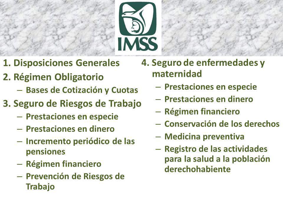 1.Disposiciones Generales 2. Régimen Obligatorio – Bases de Cotización y Cuotas 3.