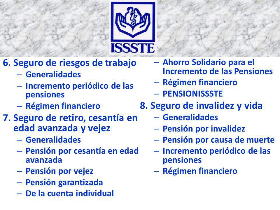 6. Seguro de riesgos de trabajo – Generalidades – Incremento periódico de las pensiones – Régimen financiero 7. Seguro de retiro, cesantía en edad ava