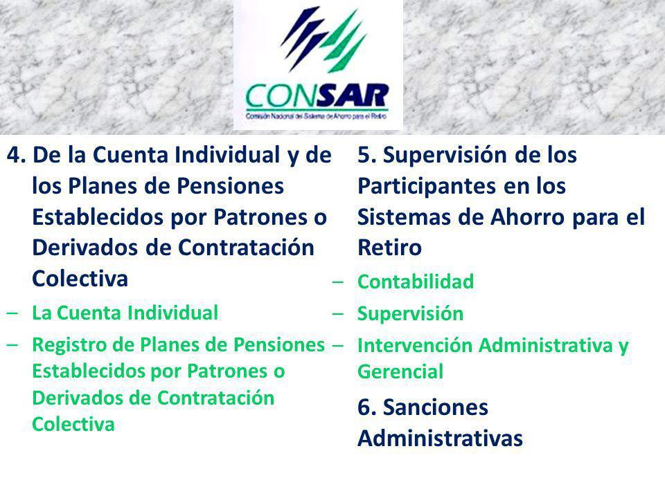 4. De la Cuenta Individual y de los Planes de Pensiones Establecidos por Patrones o Derivados de Contratación Colectiva –La Cuenta Individual –Registr