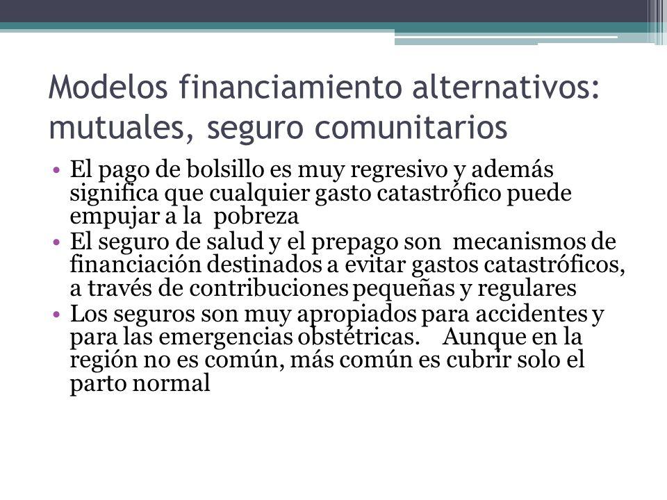 Modelos financiamiento alternativos: mutuales, seguro comunitarios El pago de bolsillo es muy regresivo y además significa que cualquier gasto catastr
