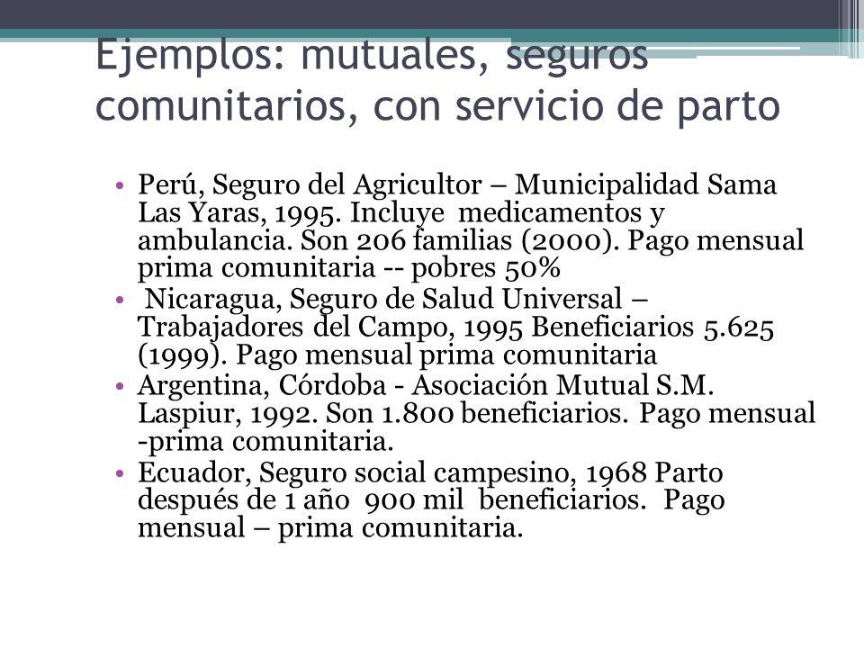 Ejemplos: mutuales, seguros comunitarios, con servicio de parto Perú, Seguro del Agricultor – Municipalidad Sama Las Yaras, 1995. Incluye medicamentos