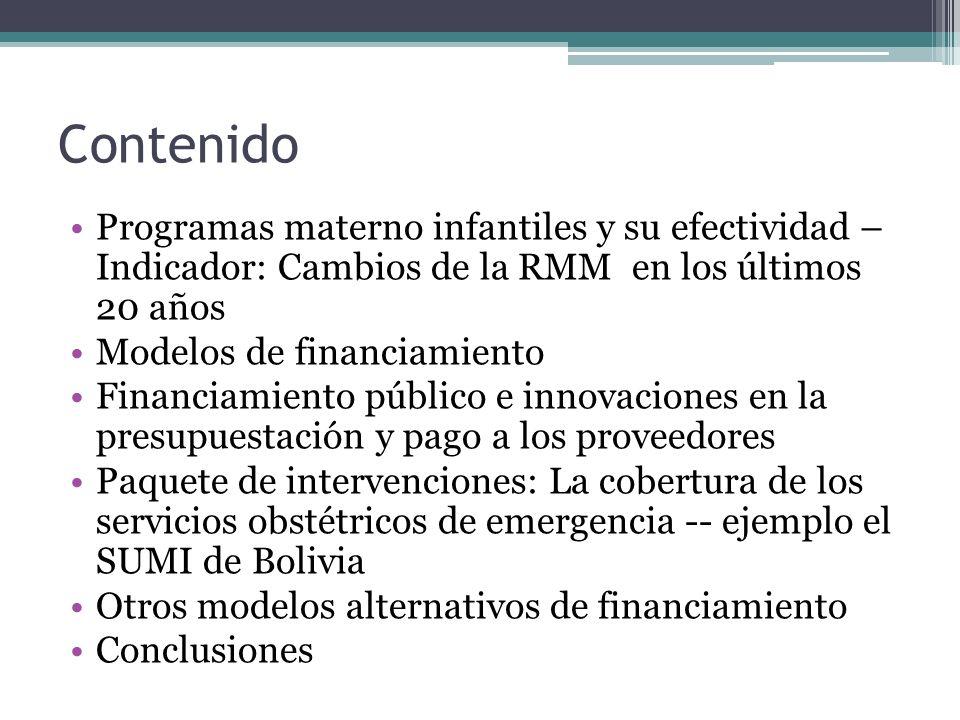 Contenido Programas materno infantiles y su efectividad – Indicador: Cambios de la RMM en los últimos 20 años Modelos de financiamiento Financiamiento