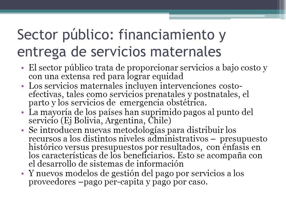 Sector público: financiamiento y entrega de servicios maternales El sector público trata de proporcionar servicios a bajo costo y con una extensa red