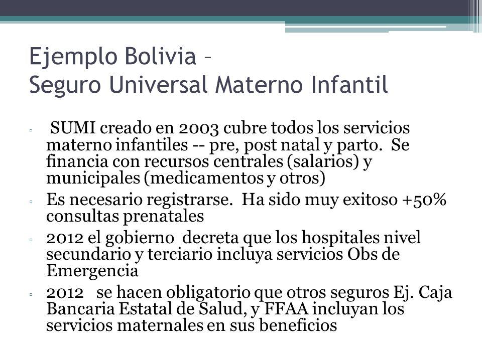 Ejemplo Bolivia – Seguro Universal Materno Infantil SUMI creado en 2003 cubre todos los servicios materno infantiles -- pre, post natal y parto. Se fi