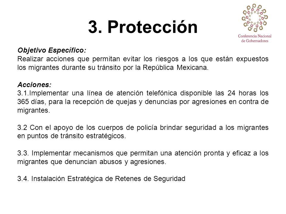 3. Protección Objetivo Específico: Realizar acciones que permitan evitar los riesgos a los que están expuestos los migrantes durante su tránsito por l
