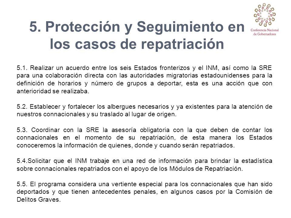 5.1. Realizar un acuerdo entre los seis Estados fronterizos y el INM, así como la SRE para una colaboración directa con las autoridades migratorias es