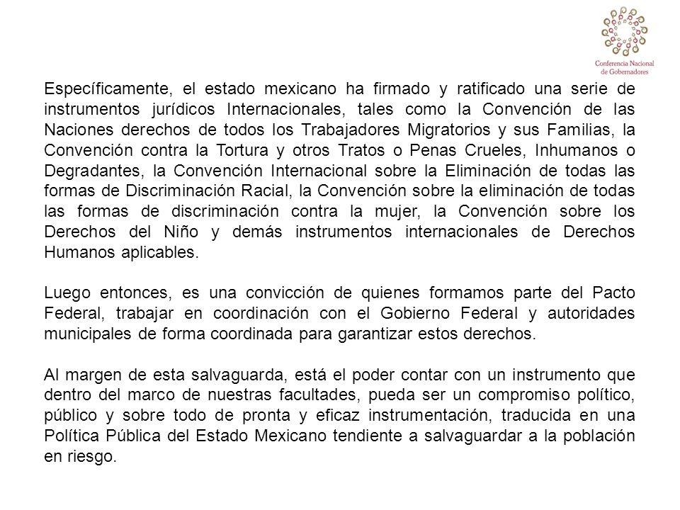 Específicamente, el estado mexicano ha firmado y ratificado una serie de instrumentos jurídicos Internacionales, tales como la Convención de las Nacio