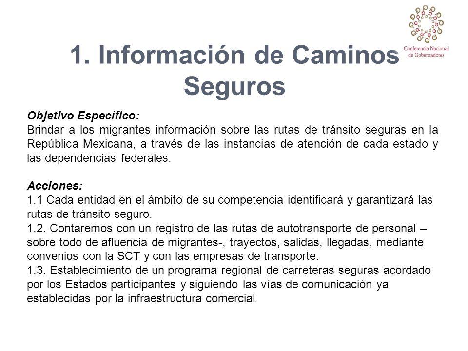 1. Información de Caminos Seguros Objetivo Específico: Brindar a los migrantes información sobre las rutas de tránsito seguras en la República Mexican