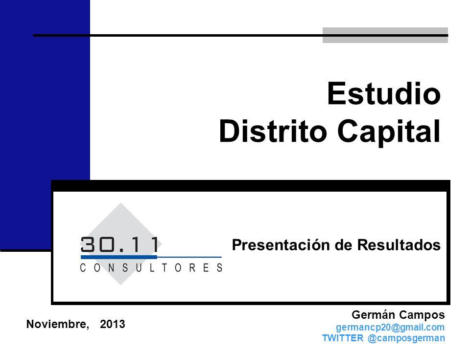 Estudio Distrito Capital Noviembre, 2013 Germán Campos germancp20@gmail.com TWITTER @camposgerman Presentación de Resultados