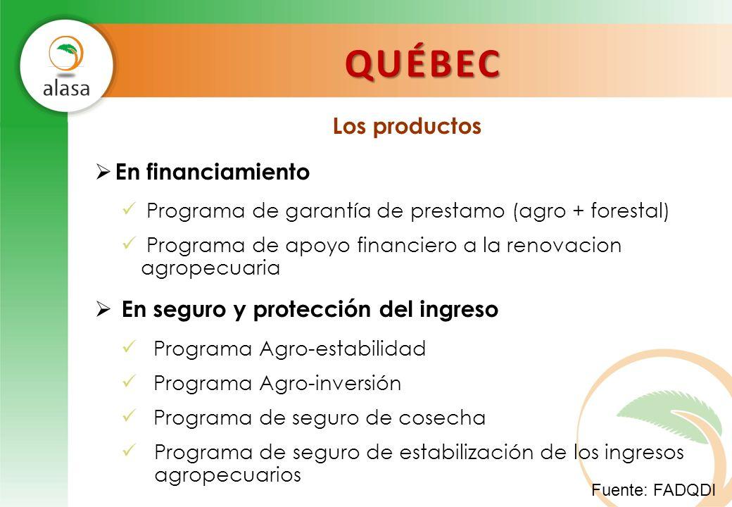 QUÉBEC Los productos En financiamiento Programa de garantía de prestamo (agro + forestal) Programa de apoyo financiero a la renovacion agropecuaria En
