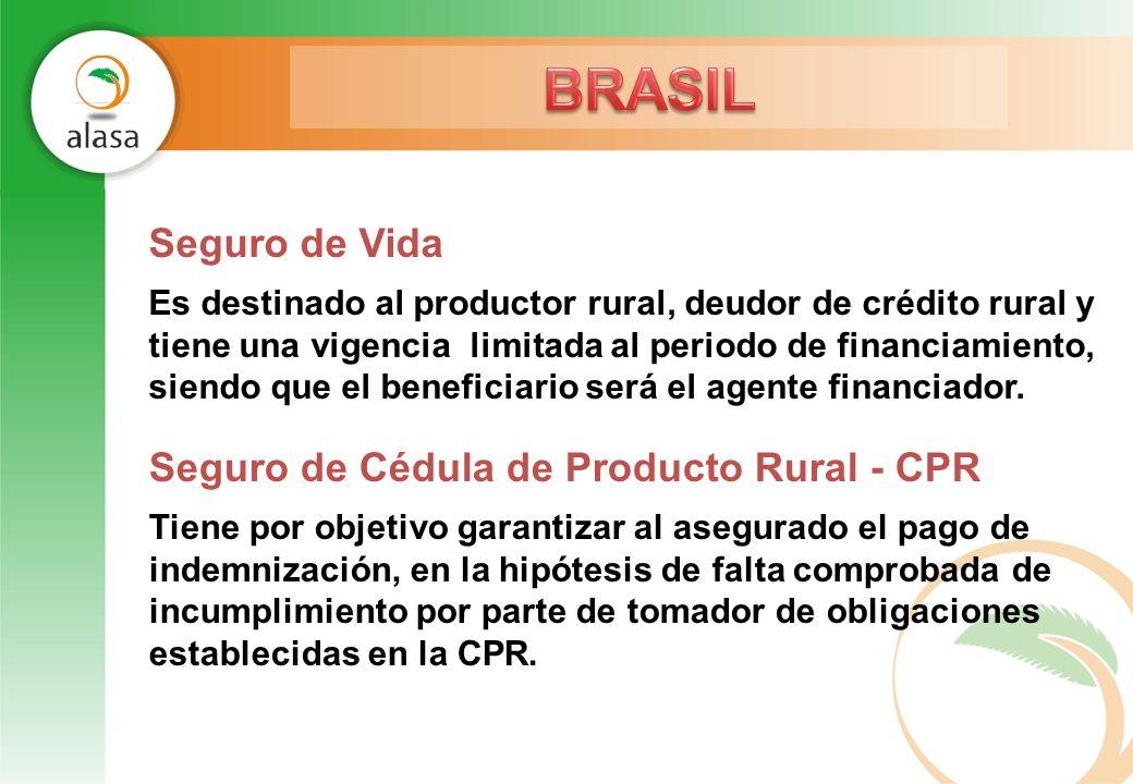 Seguro de Vida Es destinado al productor rural, deudor de crédito rural y tiene una vigencia limitada al periodo de financiamiento, siendo que el bene