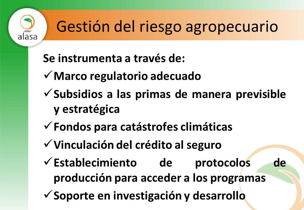 Gestión del riesgo agropecuario Se instrumenta a través de: Marco regulatorio adecuado Subsidios a las primas de manera previsible y estratégica Fondo