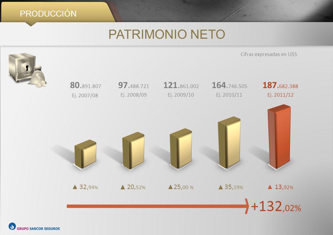 PRODUCCIÓN PATRIMONIO NETO Cifras expresadas en U$S +132,02% 32, 94 % 20, 52 % 25, 00 % 35, 19 % 13, 92 % 80. 891.807 Ej. 2007/08 97. 488.721 Ej. 2008